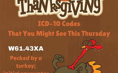 Top 10 ICD-10 codes you are likely to encounter at Thanksgiving