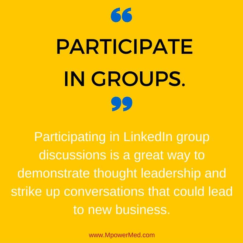 social tip: Participate in groups