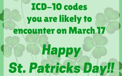 Some ICD-10 Codes You Might See on St. Patrick's Day