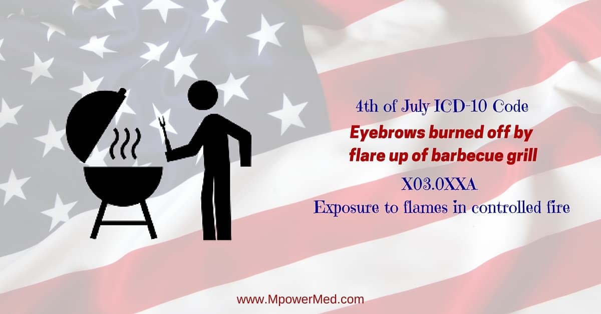 grill codes 4th of july icd 10 code x030xxa exposure to flames in